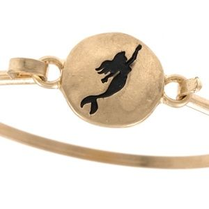 Jewelry - Mermaid etched disk bangle bracelet - Gold